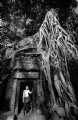 Canbodia Ta Prohm:Black and White Photo-136