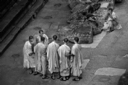 Monks at Angkor Wat :Black and White Photo-153