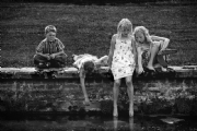 Kids and the pond:Black and White Photo-168
