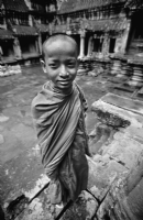 Monk at Angkor Wat :Black and White Photo-135