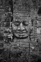 Cambodia Bayon:Black and White Photo-150