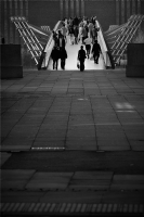 People crossing the Millennium Bridge:Black and White Photo-170
