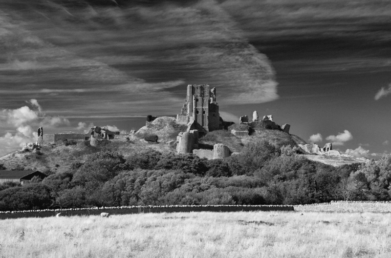 Corfe Castle:Black and White Photo-33