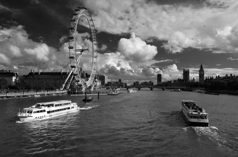 River Thames London:Black and White Photo-40