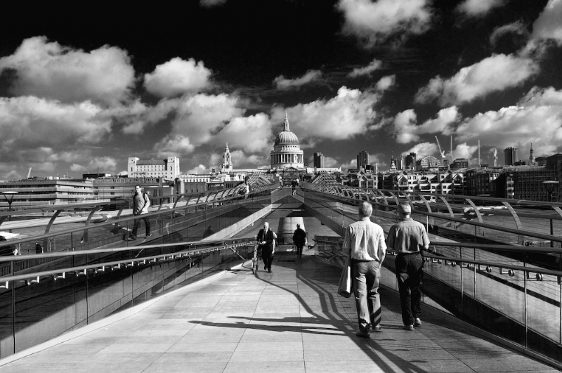 The Millennium Bridge  and St Paul's Cathedral:Black and White Photo-63