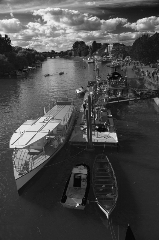 View from Richmond Bridge:Black and White Photo-98