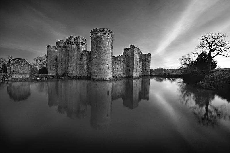 Bodiam Castle England:Black and White Photo-201