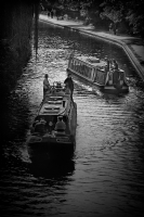 Canal barges, London:Black and White Photo-338
