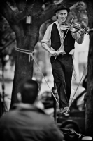 Tightrope walking violin player:Black and White Photo-340
