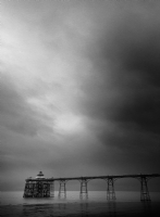 The Clevedon Pier, England 1:Black and White Photo-346
