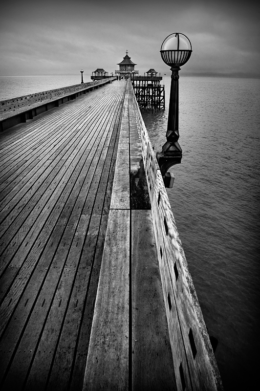 The Clevedon Pier, England 3:Black and White Photo-348