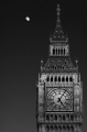 Big Ben and Moon London:Black and White Photo-215