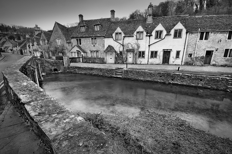Castle Combe England:Black and White Photo-218