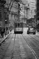 Tram in Milan Italy:Black and White Photo-258