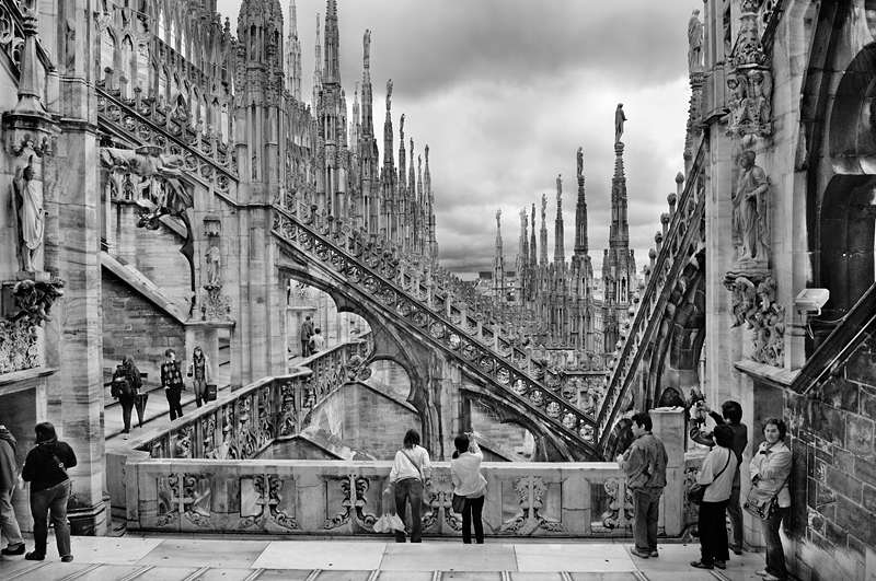Duomo di Milano - Milan Cathedral Italy:Black and White Photo-260