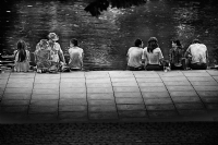 People at Richmond Riverside:Black and White Photo-302