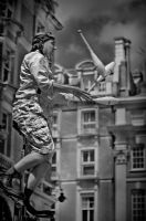 Street Artist in Covent Garden London:Black and White Photo-304