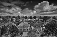 View from the top of flat, England:Black and White Photo-314