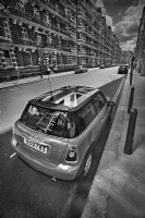 A MINI Cooper with Union Jack in London:Black and White Photo-317