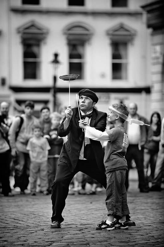 Street Artist in Covent Garden London II:Black and White Photo-305