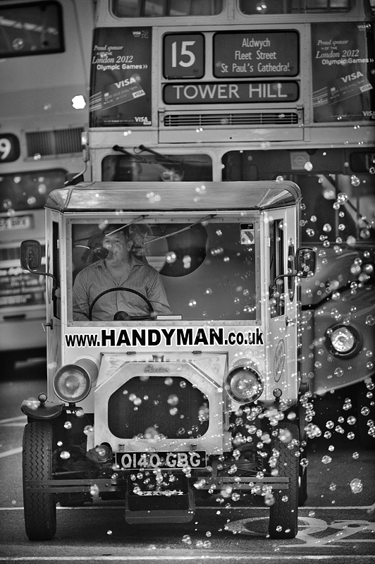 Bubble car in London:Black and White Photo-319