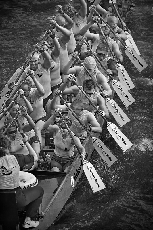The Great River Race 2008 - Dragon Boat:Black and White Photo-322