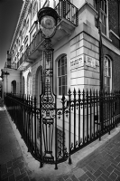 One eyed monster on a street of London:Black and White Photo-361