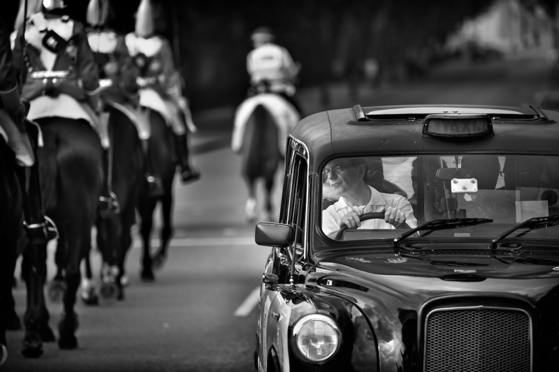 London Taxi Driver:Black and White Photo-358