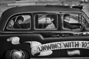 Passengers in London Taxi :Black and White Photo-472