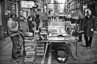 The book market at Soho London:Black and White Photo-475