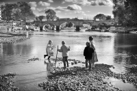 Kids by Thames River near Richmond:Black and White Photo-480