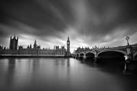Big Ben and Thames river:Black and White Photo-487
