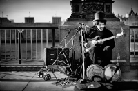 Street Musician in London Town:Black and White Photo-370