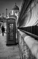 London Red Telephone Box:Black and White Photo-372