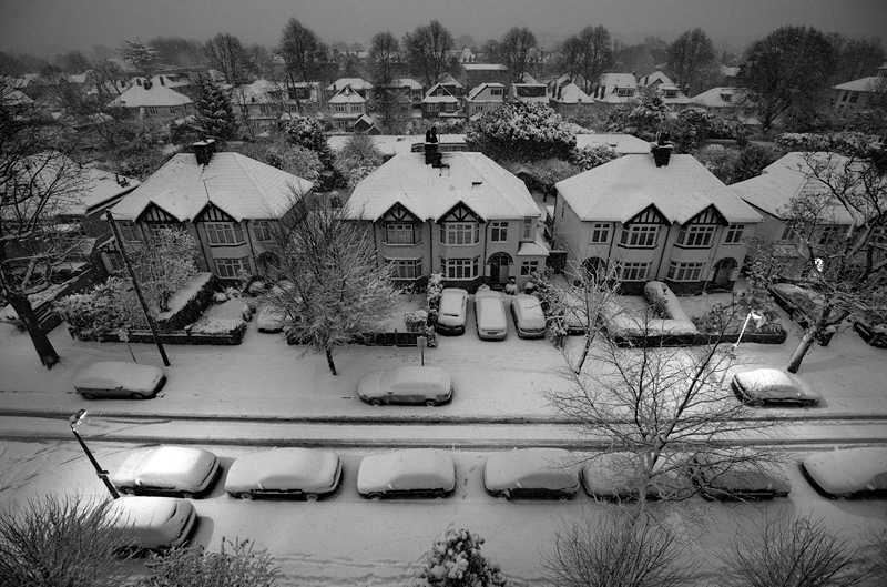 Snow in London:Black and White Photo-366