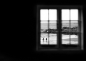Wembury beach through the window:Black and White Photo-382
