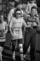 Jordan (Katie Price) and Peter Andre at London Marathon 2009:Black and White Photo-406