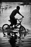 Bicycle by the River Thames, Richmond:Black and White Photo-409