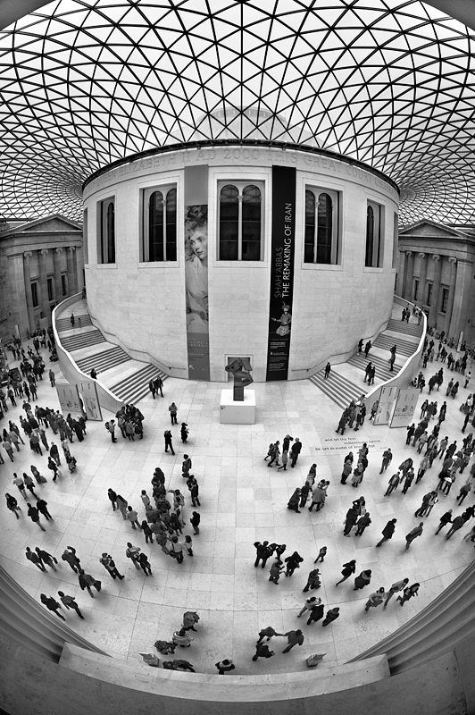 British Museum Great Court through a fisheye:Black and White Photo-399