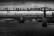 Walking on the Millennium Bridge:Black and White Photo-410