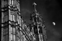 Houses of Parliament and The Moon:Black and White Photo-411
