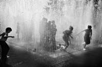 Kids Playing in a Fountain, London:Black and White Photo-421