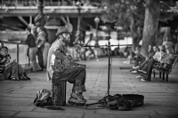 A man plays bottleneck blues:Black and White Photo-422