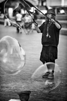 Girl with soap bubbles:Black and White Photo-428