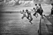 Boys in Whitstable Town, England:Black and White Photo-439