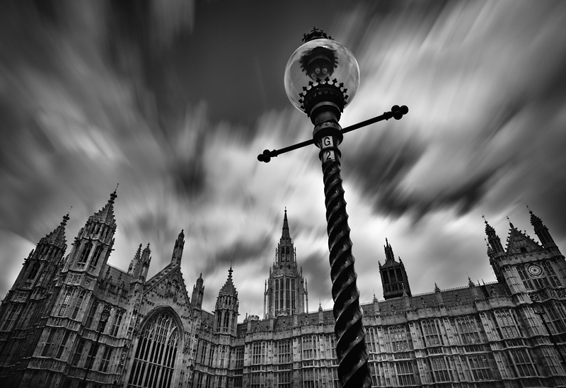 Flowing clouds over Westminster:Black and White Photo-435