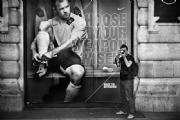 Wayne Rooney Poster and a tourist:Black and White Photo-440