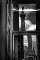 Reflection of Nelson's Column and Big Ben:Black and White Photo-441