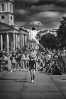 Jumping Stilts:Black and White Photo-451