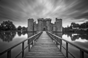Bodiam Castle, Sussex, England:Black and White Photo-602